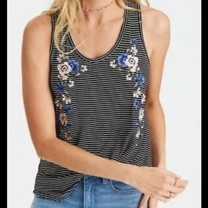 AEO soft and sexy embroidered striped tank